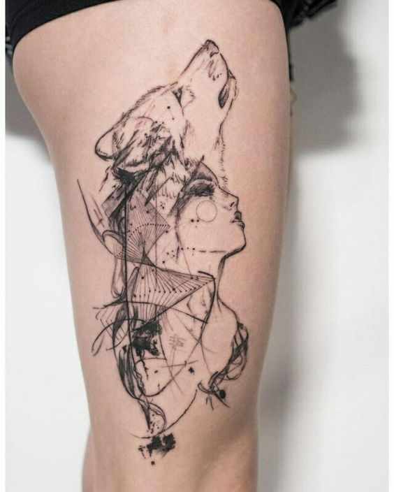 Geometric Overlay Thigh Tattoo