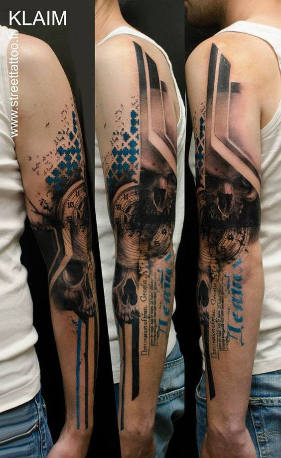 Geometric Skull And Clock Arm Tattoo