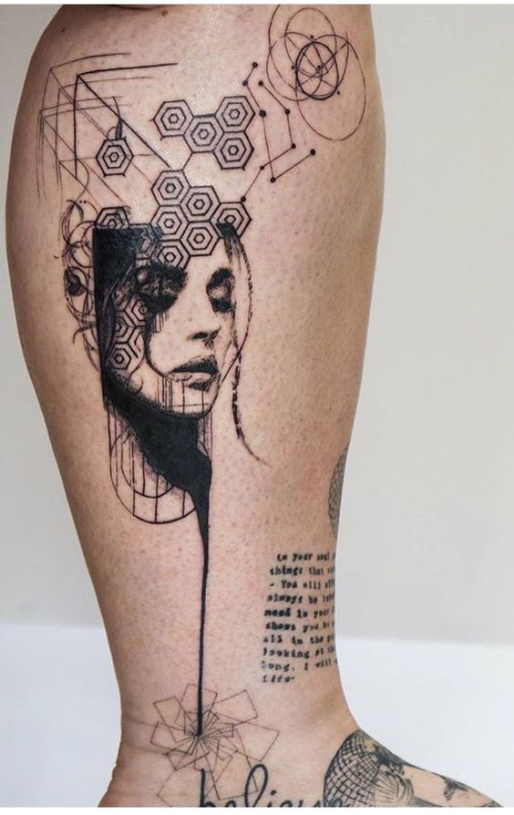 Geometry And Dotwork Portrait Leg Tattoo
