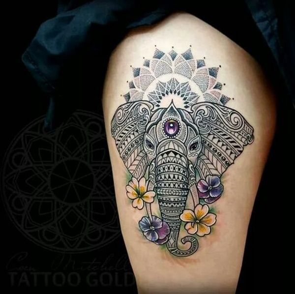 Gorgeous Tribal Elephant Thigh Tattoo
