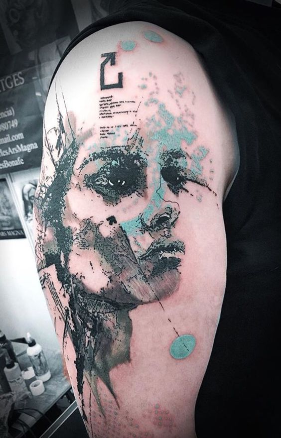 Grey And Pale Blue Portrait Tattoo