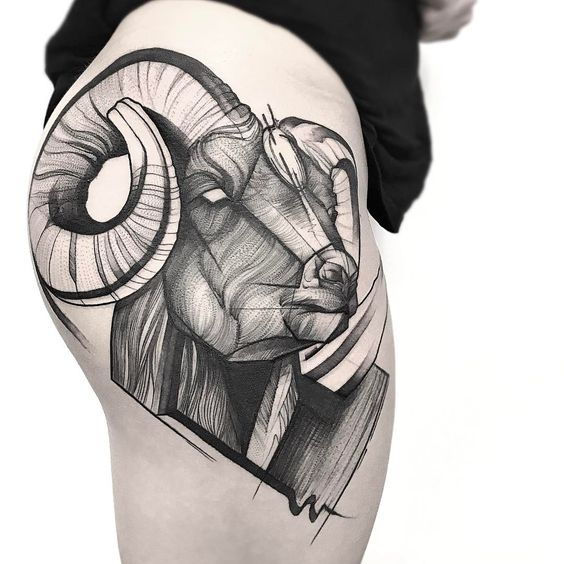 Intricate 3D Ram Thigh Tattoo