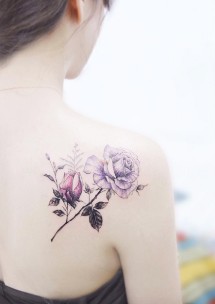 40 impressive back shoulder tattoos amazing tattoo ideas for Rose tattoo on back shoulder