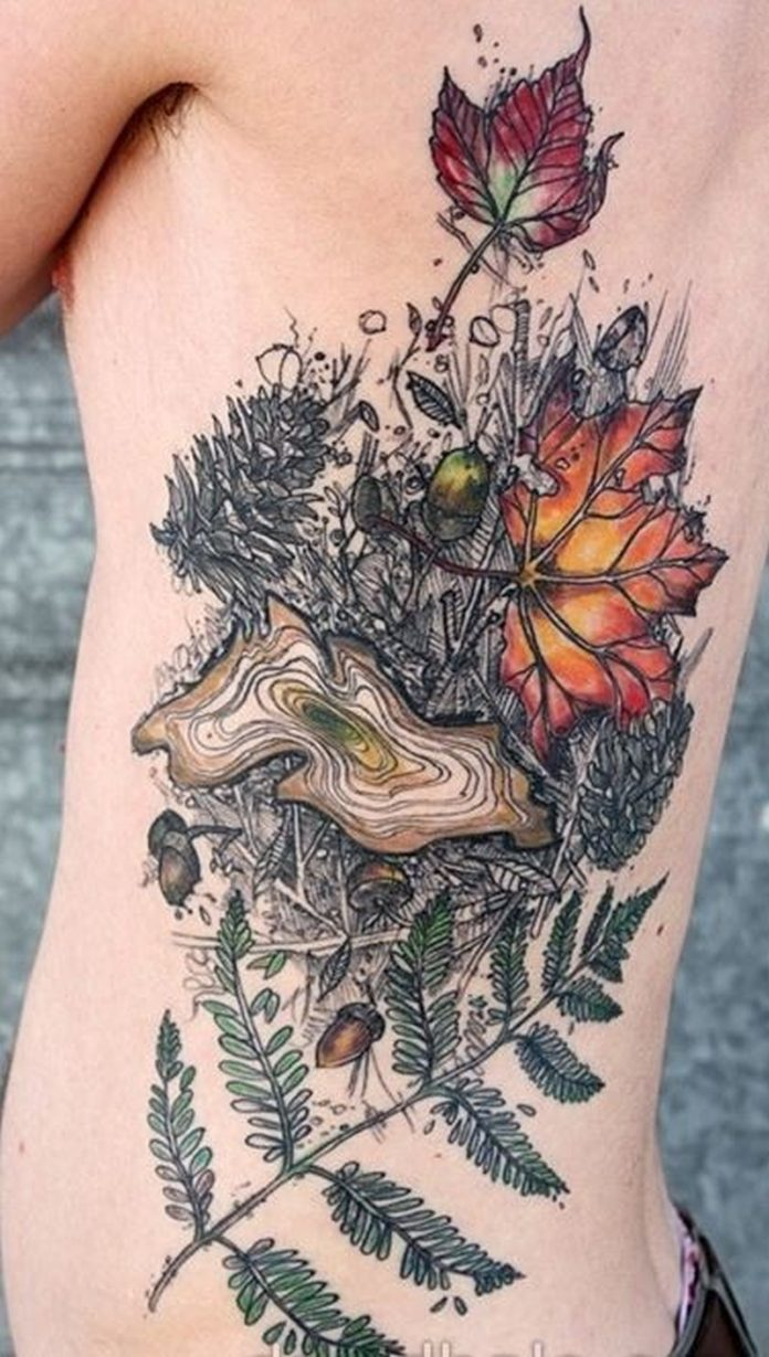 New Style Tree Rib Tattoo