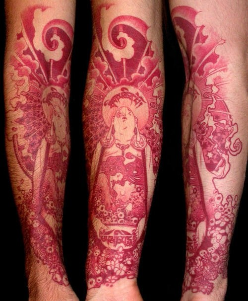 Ornamental Red Inked Buddha Forearm TattooOrnamental Red Inked Buddha Forearm Tattoo
