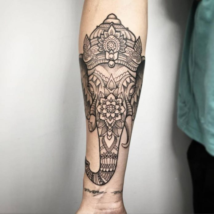 Ornamental Style Elephant Forearm Tattoo