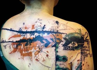 Portrait And Layering Back Tattoo