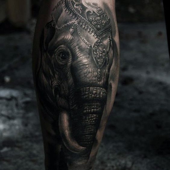 Realistic Elephant Calf Tattoo