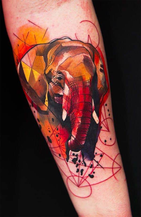 Sketchy Watercolor Elephant Forearm Tattoo