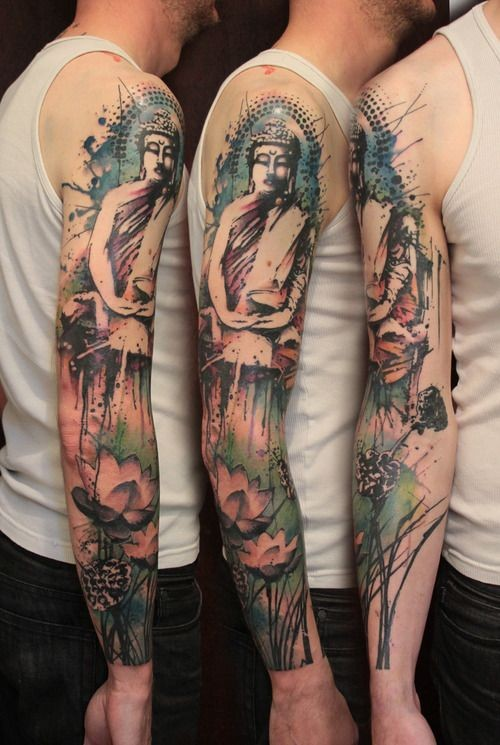 Watercolor Buddha Sleeve Tattoo