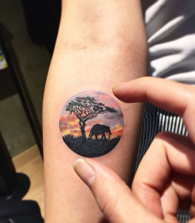 Watercolor Elephant Wrist Tattoo