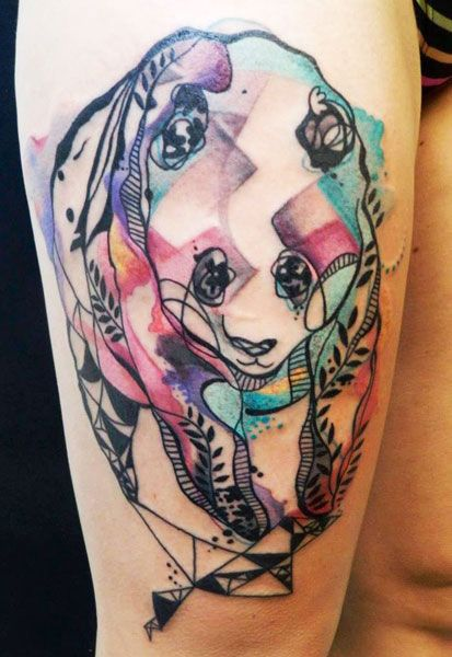 Watercolor Geometric Panda Thigh Tattoo