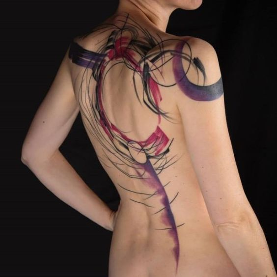 Watercolor Geometry Back Tattoo