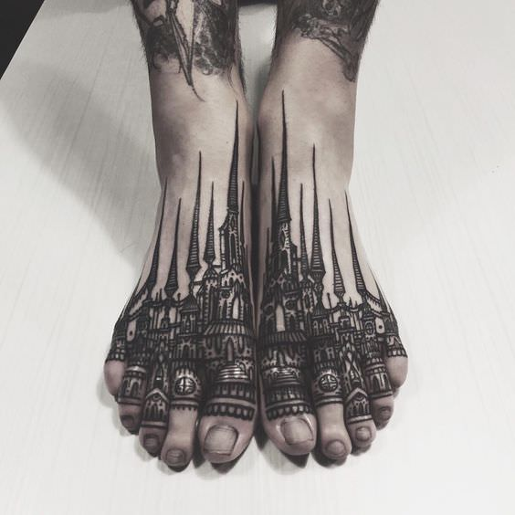 Architectural Inspired Foot Tattoo