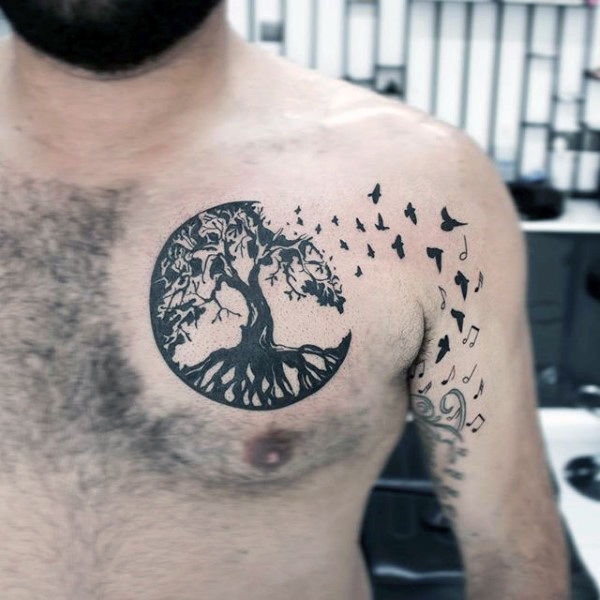 Blackwork Circle Tree Roots Chest Tattoo