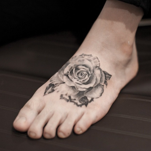 Blackwork Rose Foot Tattoo