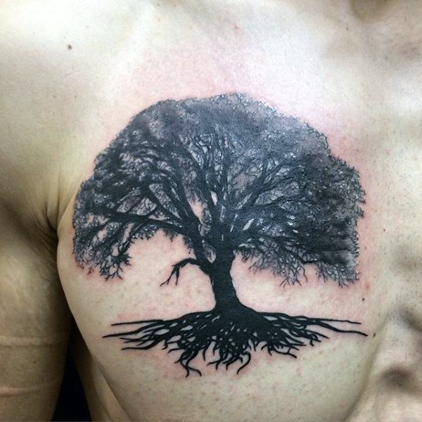 Blackwork Tree Roots Chest Tattoo
