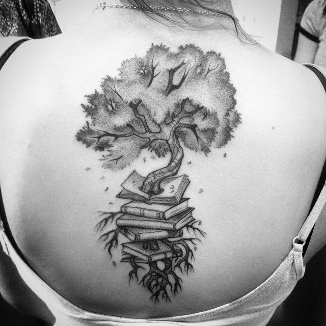 Book Tree Root Back Tattoo