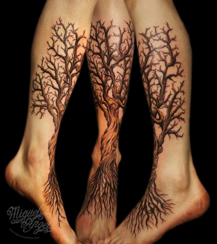 Brown Tree Root Leg Tattoo