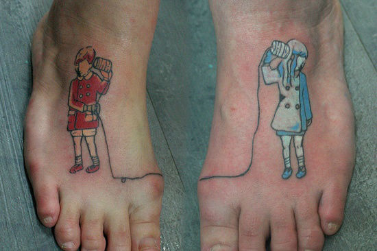 Communication Themed Foot Tattoo
