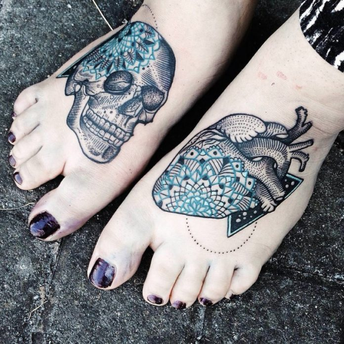 Contemporary Human Heart And Skull Foot Tattoo