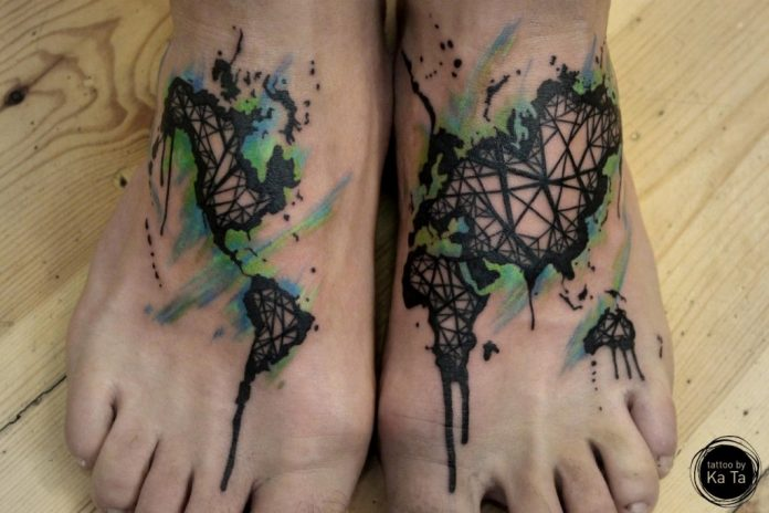 Continents Foot Tattoo