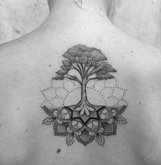 Dotwork Mandala Tree Roots Back Tattoo