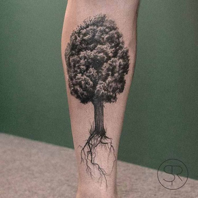 Fine Line Tree Roots Leg Tattoo
