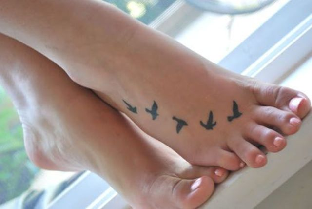 Flock Of Birds Foot Tattoo