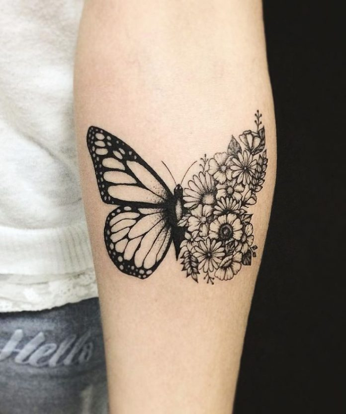 Floral Butterfly Forearm Tattoo