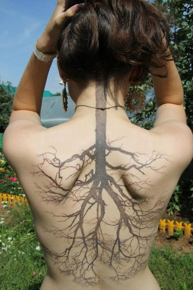 Gorgeous Tree Root Back Tattoo