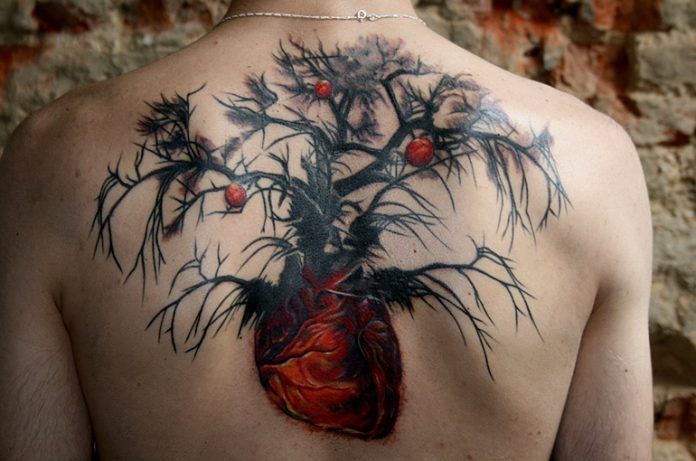Heart Shaped Tree Roots Back Tattoo