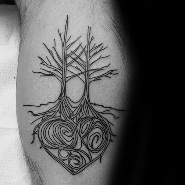 Heart Tree Roots Calf Tattoo