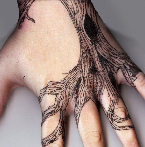 Linework Tree Roots Hand Tattoo