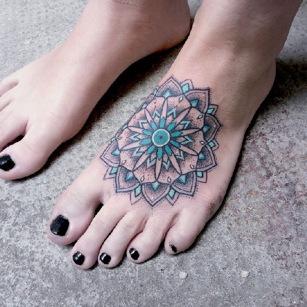 Mandala Flower Foot Tattoo
