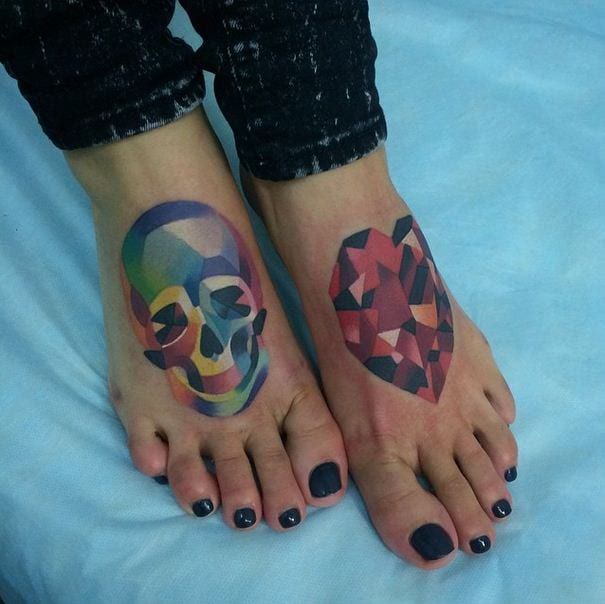 Poly Skull And Heart Foot Tattoo