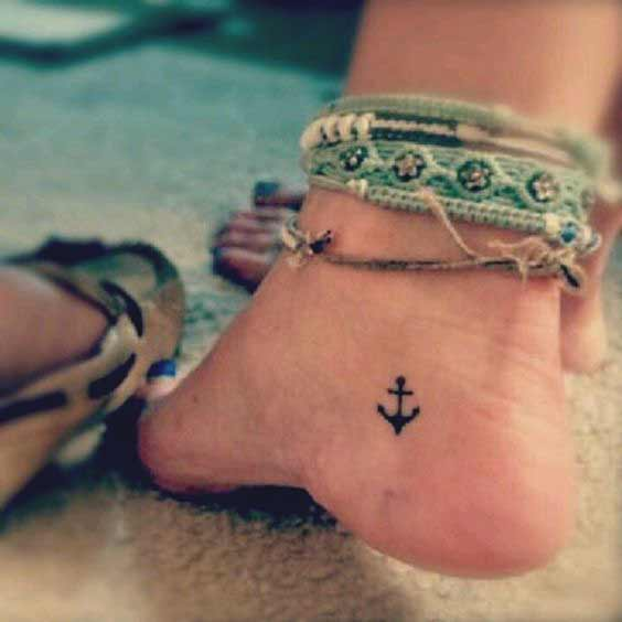 Small Anchor Foot Tattoo