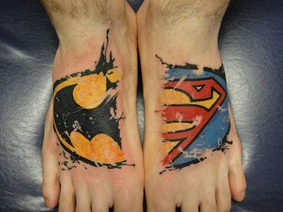 Superheroes Foot Tattoo