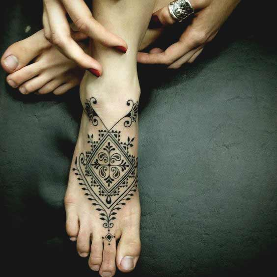 Symmetrical Pattern Foot Tattoo