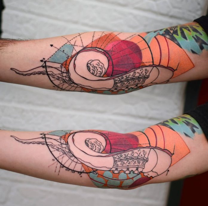 Tentacle And Nautilus Shell Golden Ration Arm Tattoo