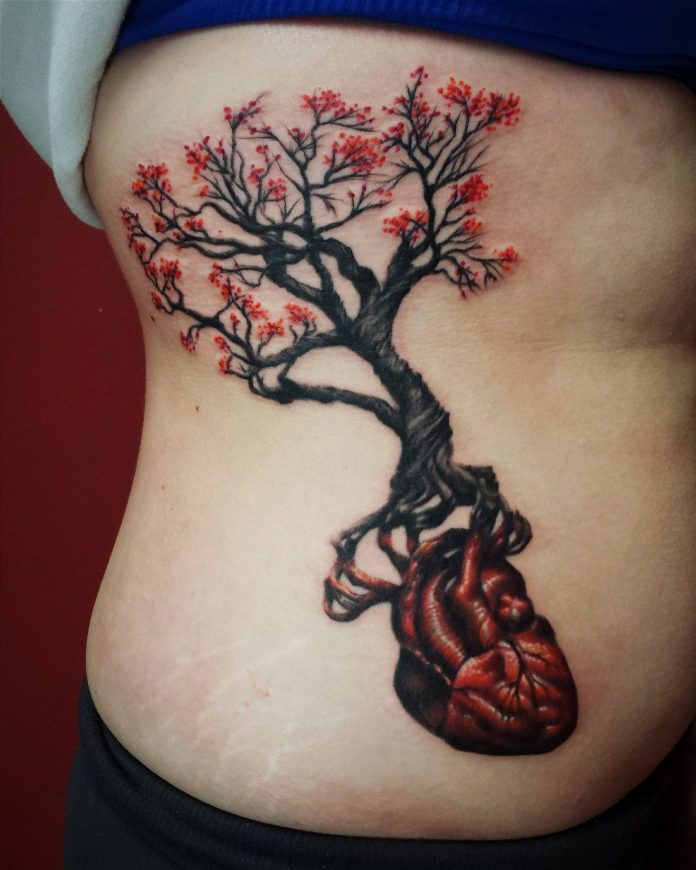 Tree Roots Heart Side Body Tattoo