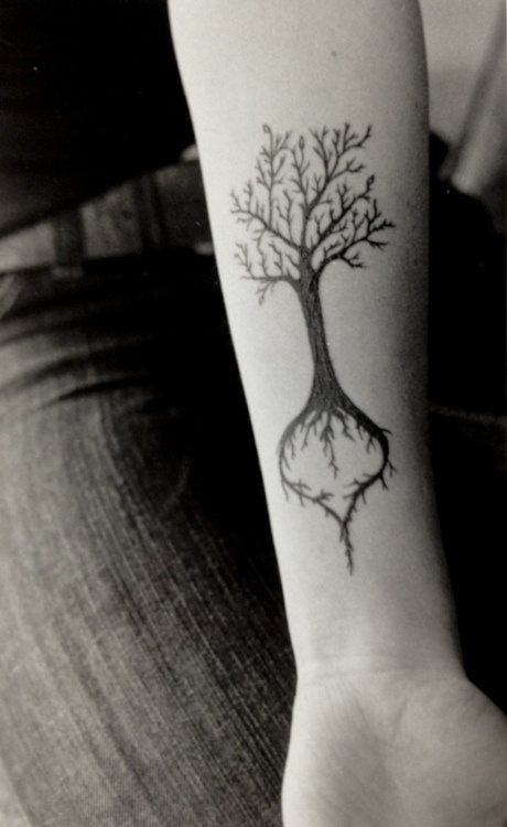 Twined Tree roots Forearm Tattoo