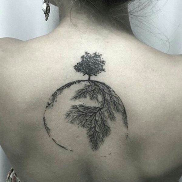 Unique Tree Roots Back Tattoo