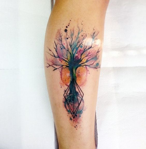 Watercolor Geometric Tree Roots Leg Tattoo