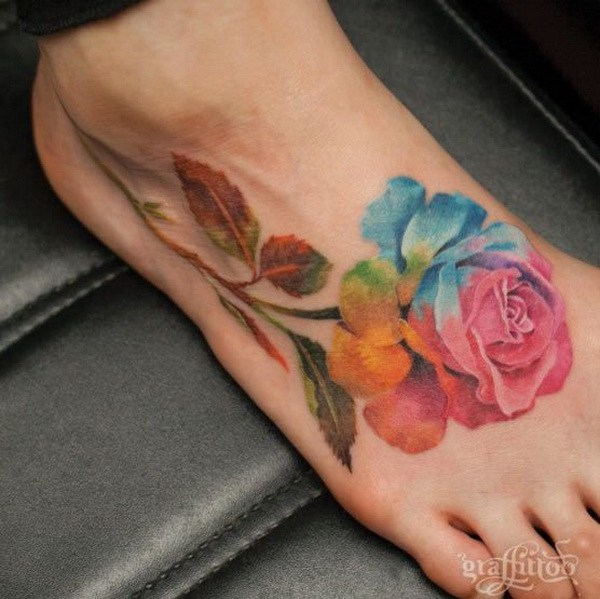 Watercolor Rose Foot Tattoo