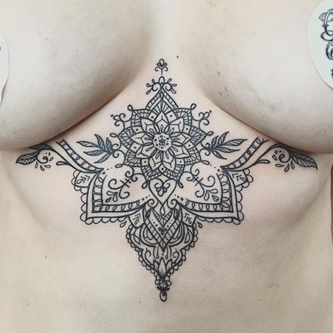 Black and Grey Mandala Sternum Tattoo