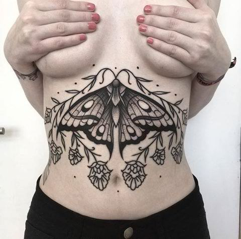 Butterfly Sternum Tattoo
