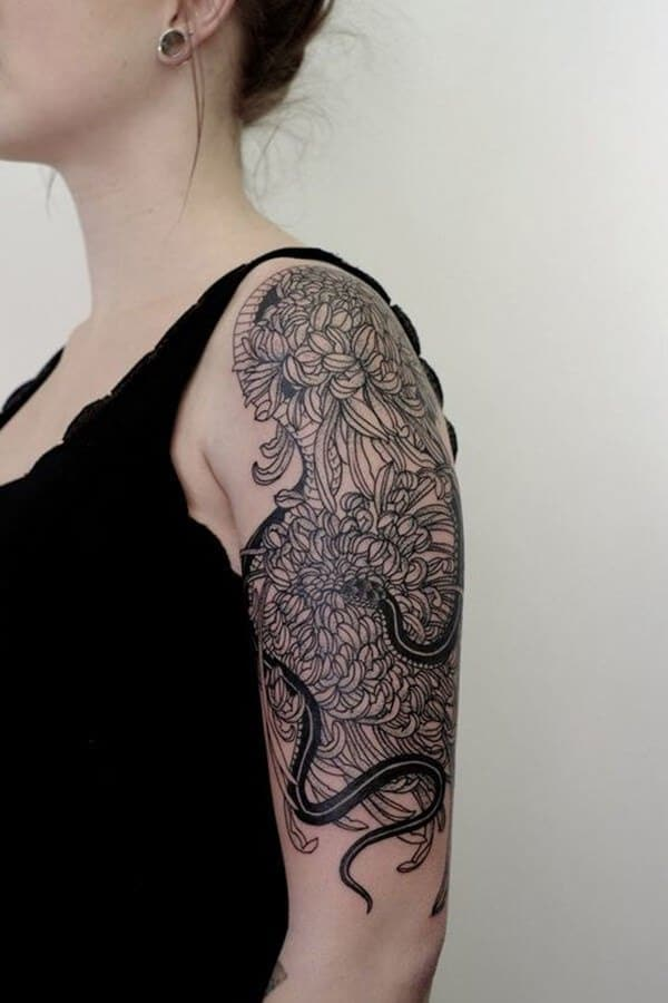 Chrysanthemum With Snake Arm Tattoo