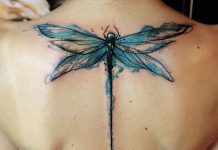 Dripping Blue Dragonfly Back Tattoo