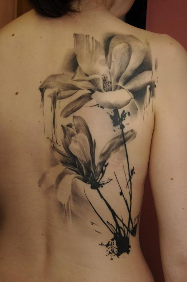 Dripping Magnolia Back Tattoo